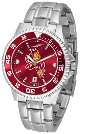 Arizona State Sun Devils Competitor AnoChrome Men's Watch with Steel Band and Colored Bezel