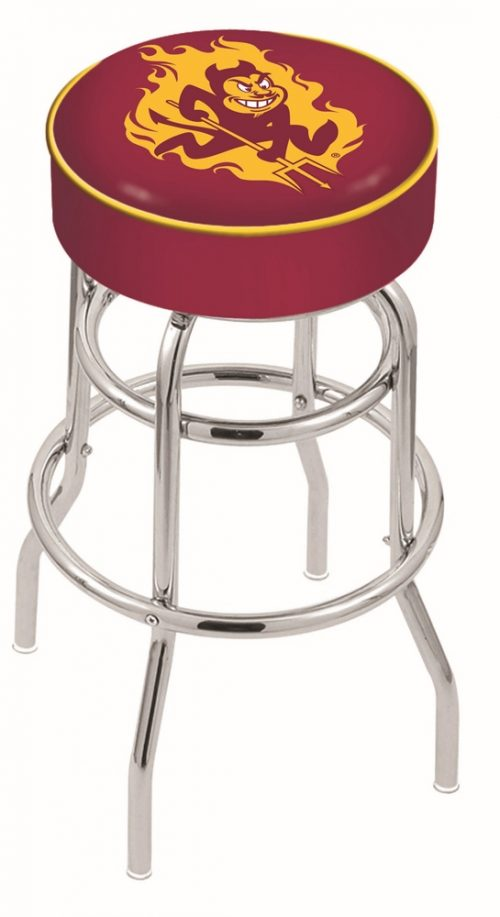 "Arizona State Sun Devils (L7C1) 25"" Tall Logo Bar Stool by Holland Bar Stool Company (with Double Ring Swivel Chrome Base)"