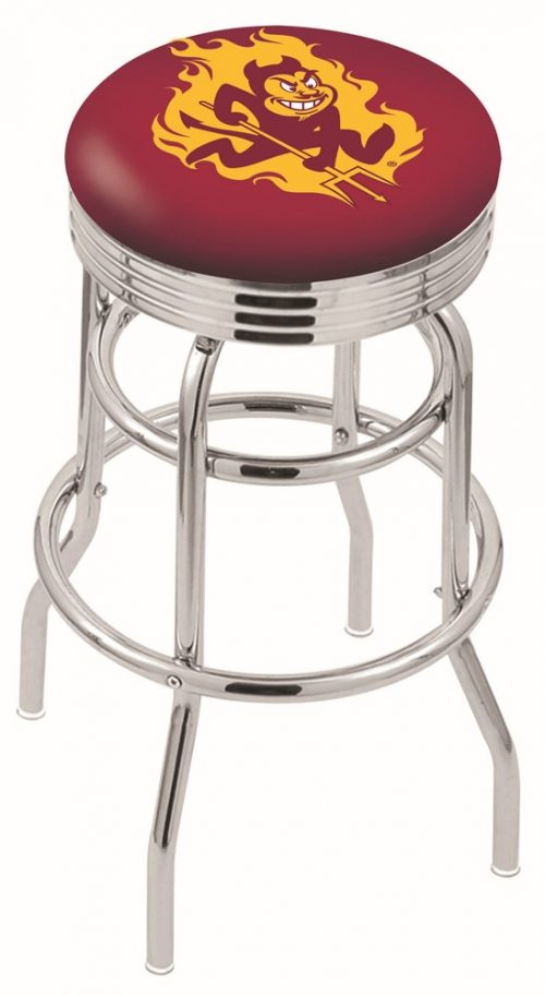 "Arizona State Sun Devils (L7C3C) 25"" Tall Logo Bar Stool by Holland Bar Stool Company (with Double Ring Swivel Chrome Base)"