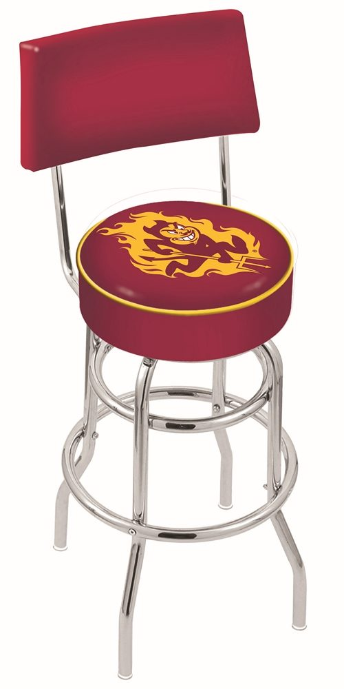 "Arizona State Sun Devils (L7C4) 30"" Tall Logo Bar Stool by Holland Bar Stool Company (with Double Ring Swivel Chrome Base and Chair Seat Back)"