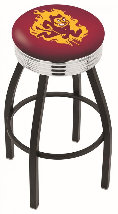 "Arizona State Sun Devils (L8B3C) 25"" Tall Logo Bar Stool by Holland Bar Stool Company (with Single Ring Swivel Black Solid Welded Base)"