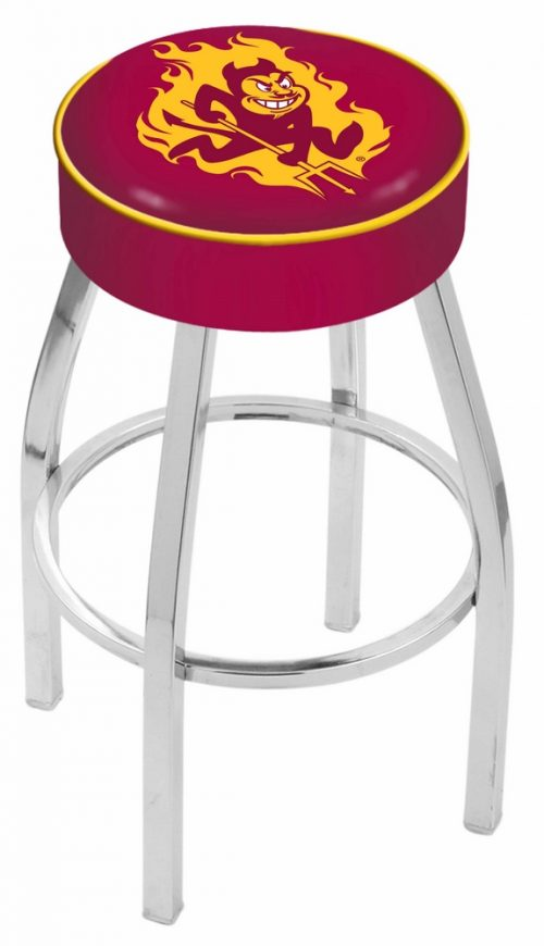 """Arizona State Sun Devils (L8C1) 30"""" Tall Logo Bar Stool by Holland Bar Stool Company (with Single Ring Swivel Chrome Solid Welded Base)"""
