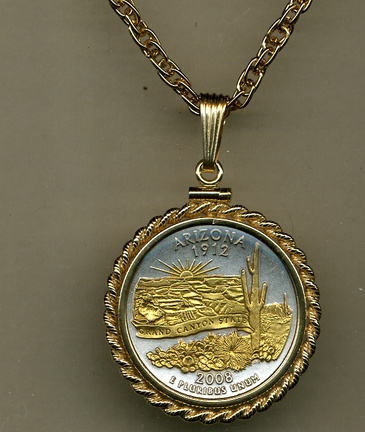 "Arizona Two Tone Rope Bezel Statehood Quarter Pendant with 18"" Rope Necklace"