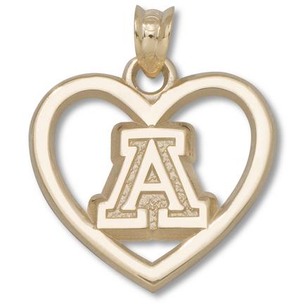 "Arizona Wildcats ""A"" Heart Pendant - 10KT Gold Jewelry"