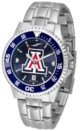 Arizona Wildcats Competitor AnoChrome Men's Watch with Steel Band and Colored Bezel