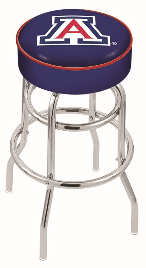 "Arizona Wildcats (L7C1) 25"" Tall Logo Bar Stool by Holland Bar Stool Company (with Double Ring Swivel Chrome Base)"