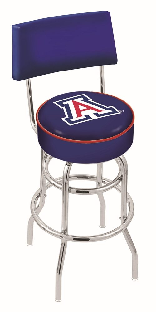"Arizona Wildcats (L7C4) 25"" Tall Logo Bar Stool by Holland Bar Stool Company (with Double Ring Swivel Chrome Base and Chair Seat Back)"