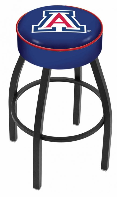 "Arizona Wildcats (L8B1) 25"" Tall Logo Bar Stool by Holland Bar Stool Company (with Single Ring Swivel Black Solid Welded Base)"