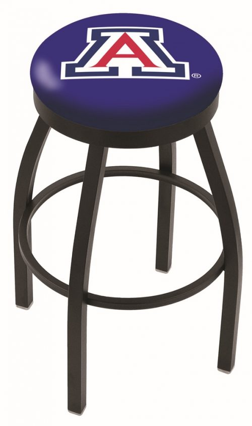 "Arizona Wildcats (L8B2B) 25"" Tall Logo Bar Stool by Holland Bar Stool Company (with Single Ring Swivel Black Solid Welded Base)"