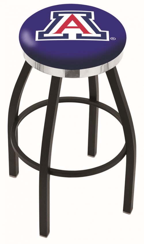 "Arizona Wildcats (L8B2C) 30"" Tall Logo Bar Stool by Holland Bar Stool Company (with Single Ring Swivel Black Solid Welded Base)"
