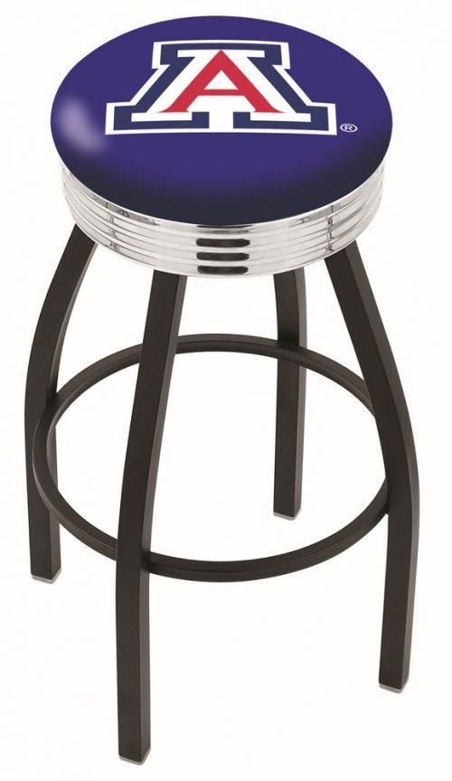 "Arizona Wildcats (L8B3C) 25"" Tall Logo Bar Stool by Holland Bar Stool Company (with Single Ring Swivel Black Solid Welded Base)"
