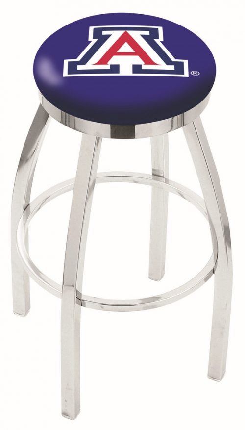 "Arizona Wildcats (L8C2C) 25"" Tall Logo Bar Stool by Holland Bar Stool Company (with Single Ring Swivel Chrome Solid Welded Base)"