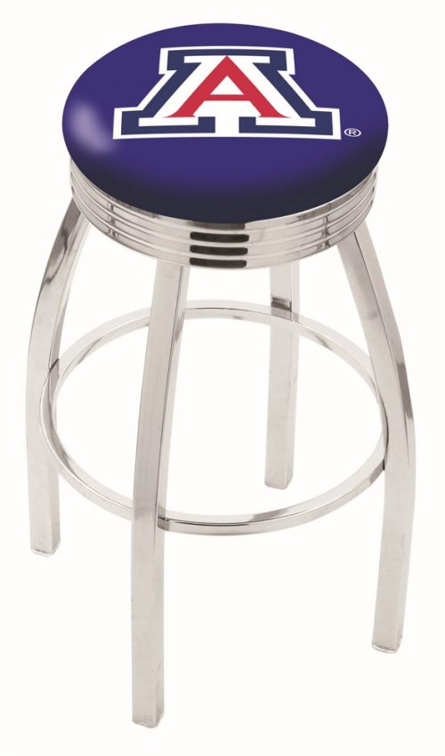 "Arizona Wildcats (L8C3C) 30"" Tall Logo Bar Stool by Holland Bar Stool Company (with Single Ring Swivel Chrome Solid Welded Base)"