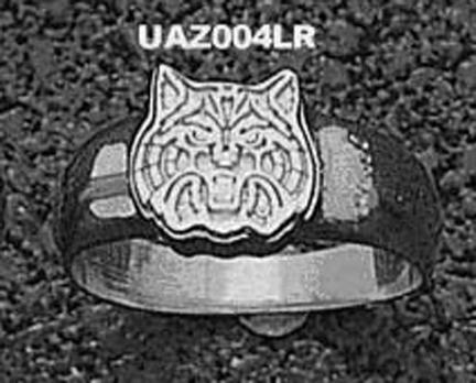 "Arizona Wildcats ""Wildcat Face"" Ladies' Ring Size 6 3/4 - Sterling Silver Jewelry"