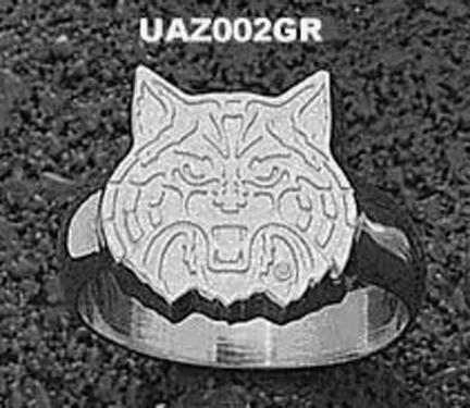 "Arizona Wildcats ""Wildcat Face"" Men's Ring Size 10 1/2 - Sterling Silver Jewelry"