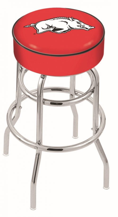 "Arkansas Razorbacks (L7C1) 30"" Tall Logo Bar Stool by Holland Bar Stool Company (with Double Ring Swivel Chrome Base)"