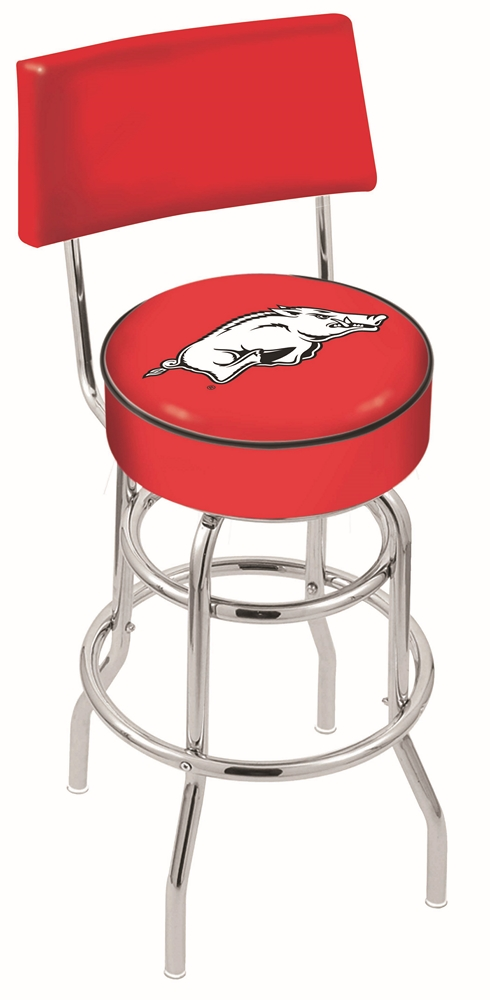 "Arkansas Razorbacks (L7C4) 25"" Tall Logo Bar Stool by Holland Bar Stool Company (with Double Ring Swivel Chrome Base and Chair Seat Back)"