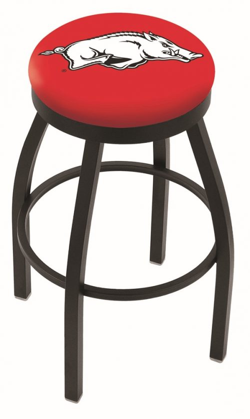 "Arkansas Razorbacks (L8B2B) 30"" Tall Logo Bar Stool by Holland Bar Stool Company (with Single Ring Swivel Black Solid Welded Base)"