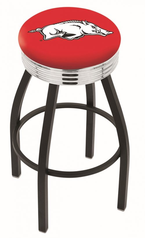 "Arkansas Razorbacks (L8B3C) 30"" Tall Logo Bar Stool by Holland Bar Stool Company (with Single Ring Swivel Black Solid Welded Base)"