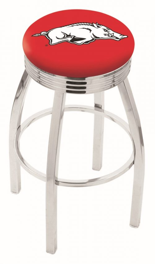 "Arkansas Razorbacks (L8C3C) 30"" Tall Logo Bar Stool by Holland Bar Stool Company (with Single Ring Swivel Chrome Solid Welded Base)"