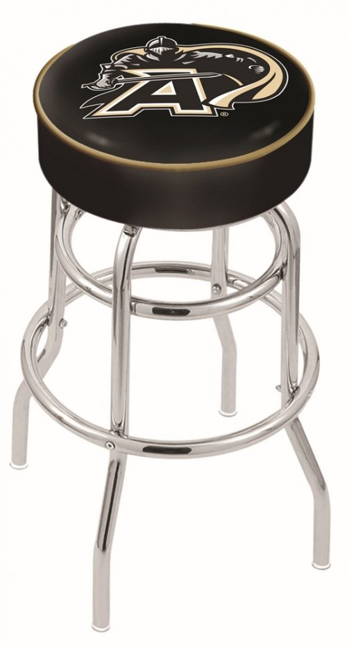 """Army Black Knights (L7C1) 25"""" Tall Logo Bar Stool by Holland Bar Stool Company (with Double Ring Swivel Chrome Base)"""