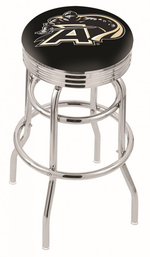 """Army Black Knights (L7C3C) 25"""" Tall Logo Bar Stool by Holland Bar Stool Company (with Double Ring Swivel Chrome Base)"""