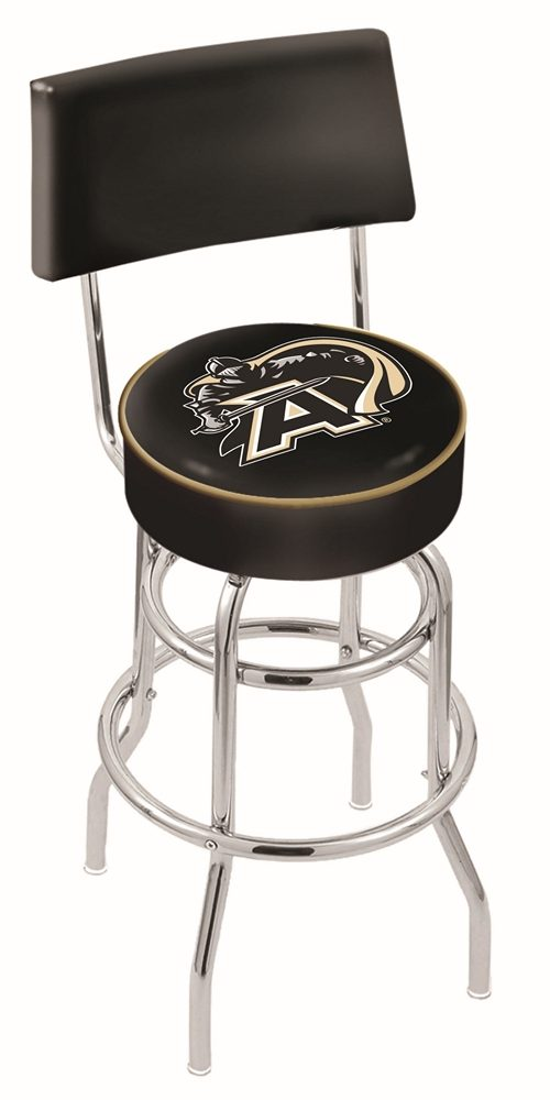 """Army Black Knights (L7C4) 30"""" Tall Logo Bar Stool by Holland Bar Stool Company (with Double Ring Swivel Chrome Base and Chair Seat Back)"""