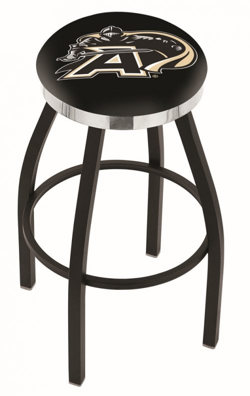 "Army Black Knights (L8B2C) 30"" Tall Logo Bar Stool by Holland Bar Stool Company (with Single Ring Swivel Black Solid Welded Base)"