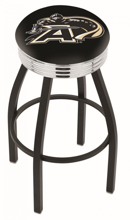 "Army Black Knights (L8B3C) 25"" Tall Logo Bar Stool by Holland Bar Stool Company (with Single Ring Swivel Black Solid Welded Base)"