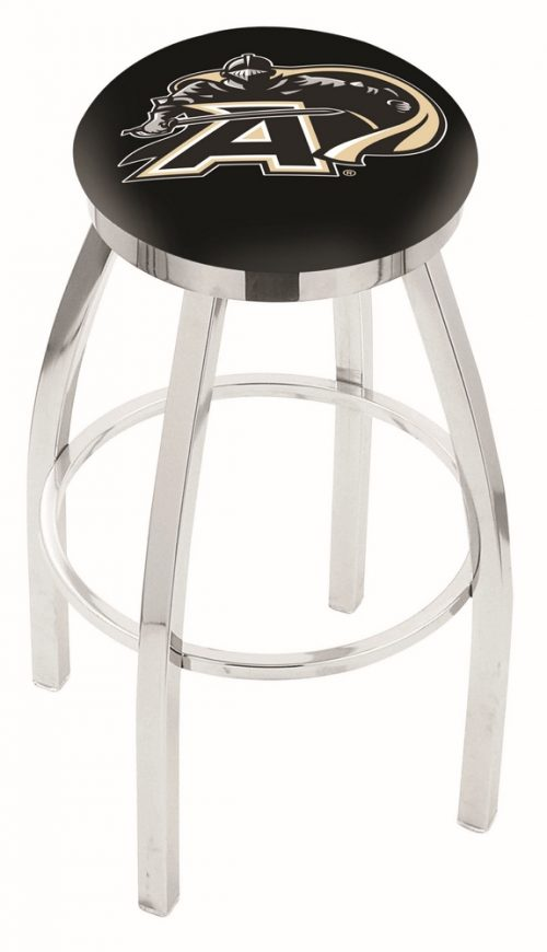 "Army Black Knights (L8C2C) 25"" Tall Logo Bar Stool by Holland Bar Stool Company (with Single Ring Swivel Chrome Solid Welded Base)"