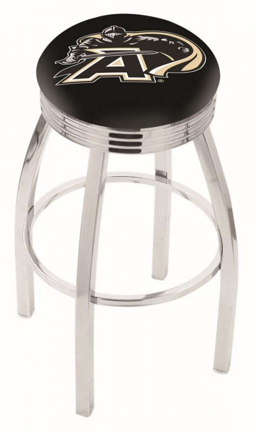 "Army Black Knights (L8C3C) 25"" Tall Logo Bar Stool by Holland Bar Stool Company (with Single Ring Swivel Chrome Solid Welded Base)"