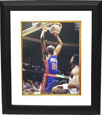 Athlon CTBL-BW14058 John Salley Signed Detroit Pistons Photo Custom Framed - 8 x 10