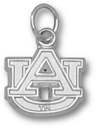 """Auburn Tigers 3/8"""" """"AU"""" Charm - 14KT White Gold Jewelry"""
