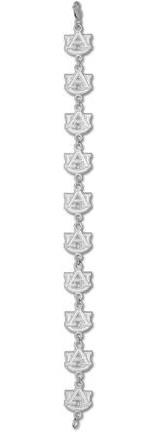 "Auburn Tigers ""AU"" 3/8"" 7.5"" Bracelet - Sterling Silver Jewelry"