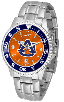 Auburn Tigers Competitor AnoChrome Men's Watch with Steel Band and Colored Bezel