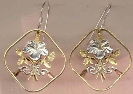 """Bahamas 15 Cent """"Hibiscus"""" Two Toned Coin Cut Out Earrings"""