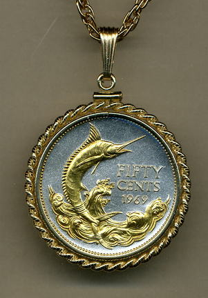 "Bahamas 50 Cent ""Blue Marlin"" Two Tone Gold Filled Rope Bezel Coin Pendant with 24"" Chain"