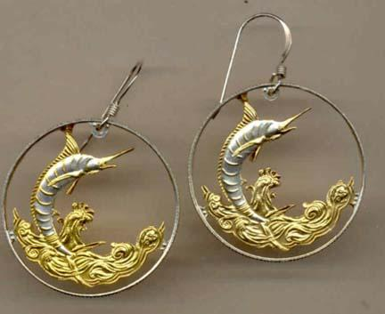 "Bahamas 50 Cent ""Blue Marlin"" Two Toned Coin Cut Out Earrings"