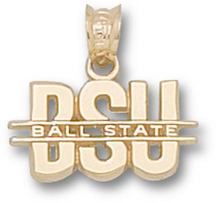 "Ball State Cardinals ""BSU"" Pendant - 10KT Gold Jewelry"