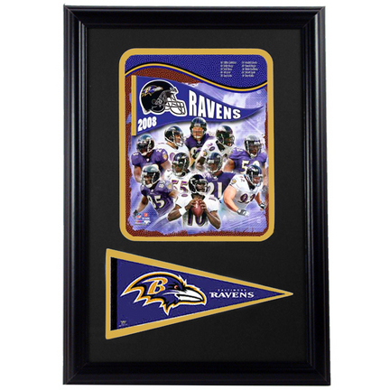 "Baltimore Ravens 2008 Photograph with Team Pennant in a 12"" x 18"" Deluxe Frame"