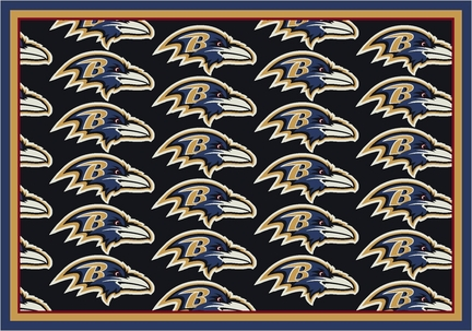 "Baltimore Ravens 3' 10"" x 5' 4"" Team Repeat Area Rug (Black)"