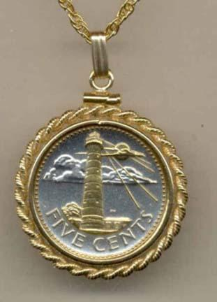 "Barbados 5 Cent ""Lighthouse"" Two Tone Gold Filled Rope Bezel Coin Pendant with 18"" Chain"