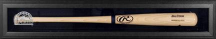 Black Framed Single Bat Display Case with Colorado Rockies Logo