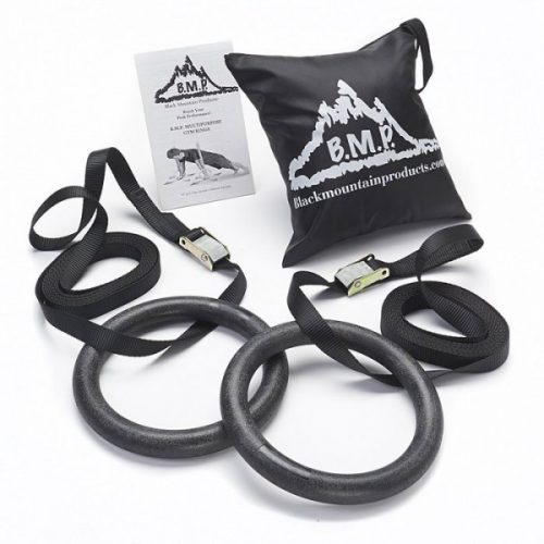 Black Mountain Products Gym Rings Black Multi-Use Exercise Gymnastics Rings Black