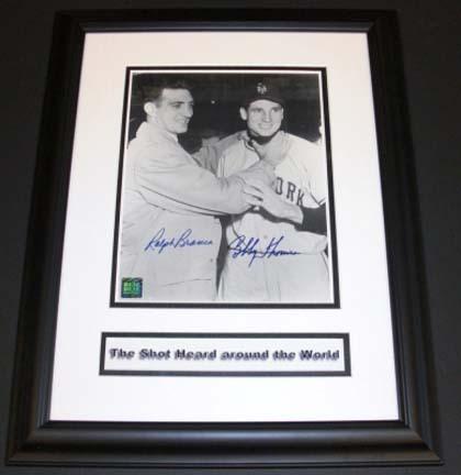 "Bobby Thomson (New York Giants) and Ralph Branca (Brooklyn Dodgers) Dual Autographed ""Choking"" 8"" x 10"" Custom Framed Photograph"