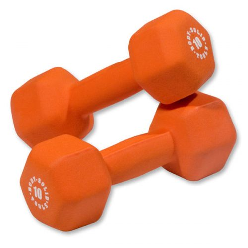 Body Solid BSTND10PR 10 lbs Neoprene Dumbell Orange - Pair