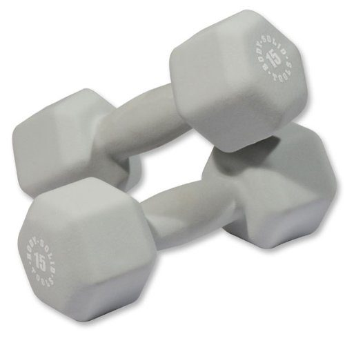 Body Solid BSTND15PR 15 lbs Neoprene Dumbell Gray - Pair