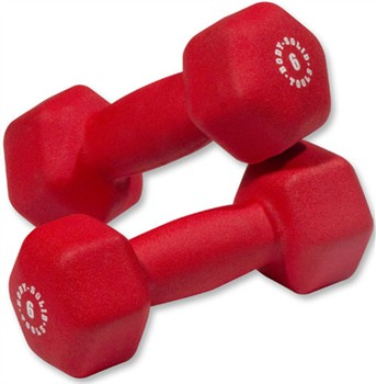 Body Solid BSTND6PR 6 lbs Neoprene Dumbell Red - Pair