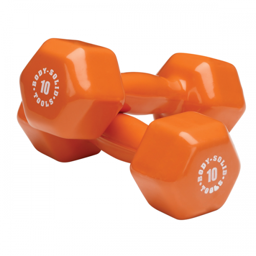 Body Solid BSTVD10PR 10 lbs Vinyl Dumbell Orange - Pair
