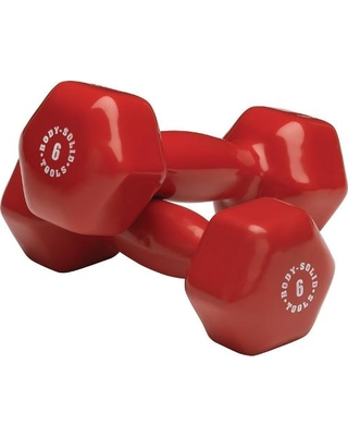 Body Solid BSTVD6PR 6 lbs Vinyl Dumbell Red - Pair